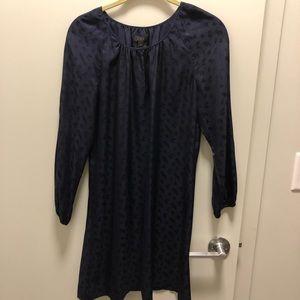J crew paisley silk dress in navy. Size 2